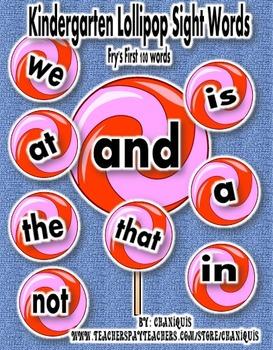 """Fry's Kindergarten """"Lollipop"""" Sight Words"""