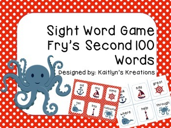 Fry's SECOND 100 Words Sight Word Game