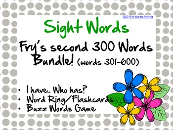 Fry's Sight Words Bundle! (words 301-600)