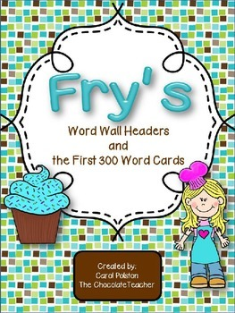 Fry's Sight Words 1-300 Word Wall Headers and Cards Brown