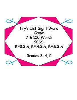 Fry's Word List Sight Word game - Seventh list