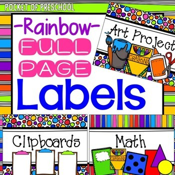 Bright, Rainbow Design Editable Labels