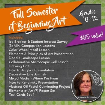 Full Semester of Beginning Art Lessons Bundle for Grades 6-12