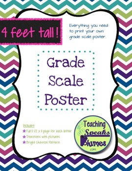 4 FOOT Grade Scale POSTER ~ Jewel-Toned Chevron ~ 7 point scale