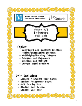 Full Unit - Integers - Meets Ontario Grade 7/8 Number Sense