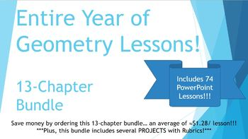 Full Year of Geometry PowerPoint Lessons Bundle - 74 dynam