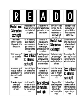 Fully Editable Menu of Choices for Reading Response!