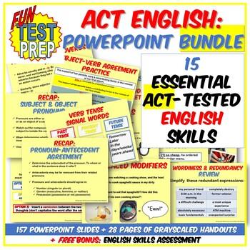 Fun ACT Prep English 4 PPT BUNDLE: Punctuation, Grammar, S