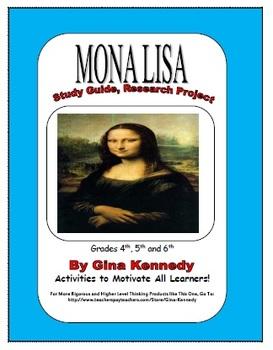 Fun Art Research ENRICHMENT Classroom Project, Mona Lisa,
