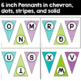 Editable Pennants in Purple, Turquoise, and Lime Green