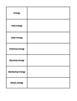 Fun Energy Vocabulary
