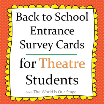 Fun First Day Entrance Survey Cards for Back to School The