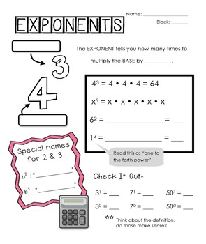 Fun Exponents, Perfect Squares, and Square Root Notes