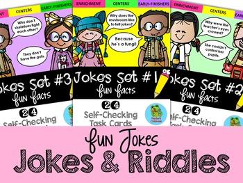Fun Facts: Jokes Edition {Self-Checking Task Cards}