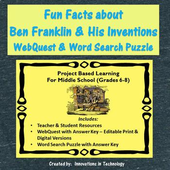 Fun Facts about Benjamin Franklin - Internet Scavenger Hunt