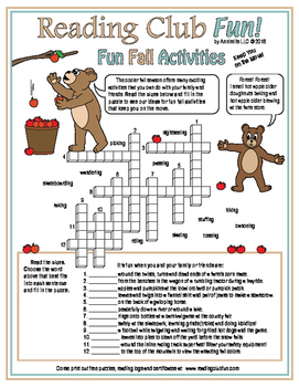 Fun Fall Activities and Sports Crossword Puzzles, Reading