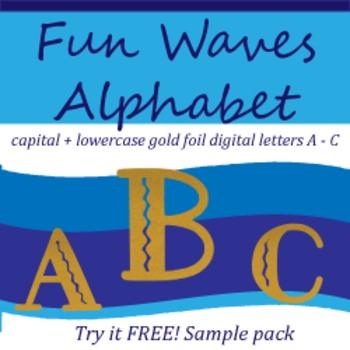 Fun Filled Waves, Gold Foil Alphabet Letters Sample Pack