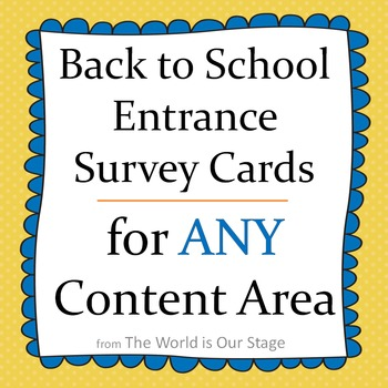 Fun First Day Entrance Survey Cards for Back to School for