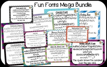 Fun Fonts Mega Bundle {True Type Fonts for personal and co