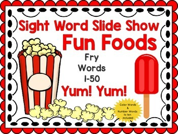 Sight Word Slide Show, Fry's First 100, Words 1-50, Fun Foods