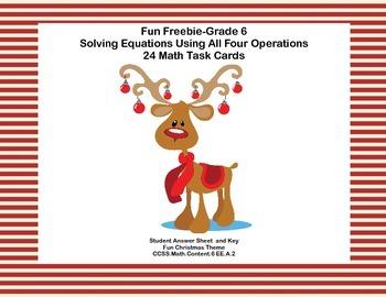 Fun Freebie-Grade 6  Solving Equations Using All Four Oper