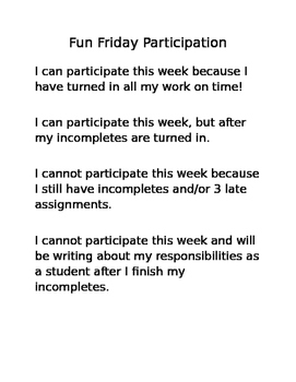 Fun Friday Participation Rules