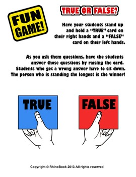 Fun Game (Ice Breaker): True or False? Trivia Questions