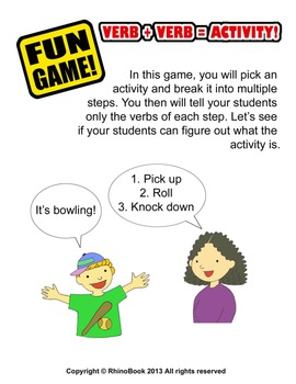 Fun Game (Ice Breaker): Verb + Verb = Activity!