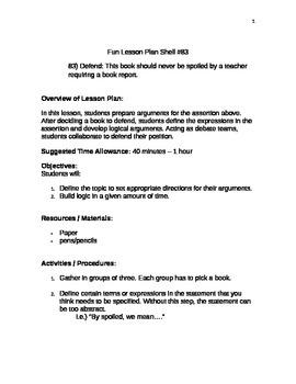 Fun Lesson Plan Shell #83