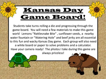 Kansas Day Center or Group Game!  Math Educational and a T