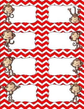 Editable Fun Monkey Label Set- red chevron