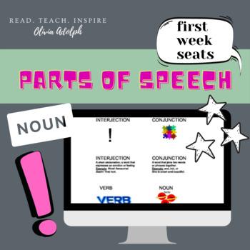 Parts of Speech, First Week of School Seats