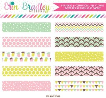 Fun Pineapples Digital Washi Tape Clipart