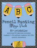 Fun Printable Pencil Bunting Mega Pack-(Alphabet, Numbers,