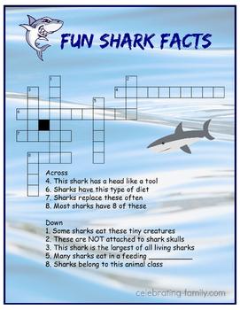 Fun Shark Facts Crossword Puzzle