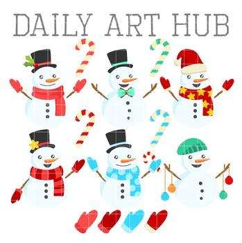 Fun Snowmen Clip Art - Great for Art Class Projects!