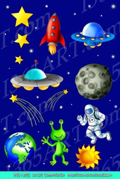 Fun Space Clipart Outer Space Travel Digital Art Science