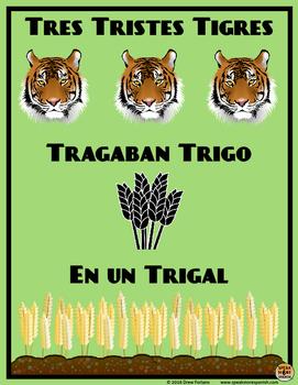 Fun Spanish Poster * Tres Tristes Tigres * Póster en Españ