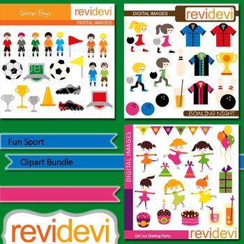 Fun Sport Clip art bundle (3 packs) soccer boys, ice skati
