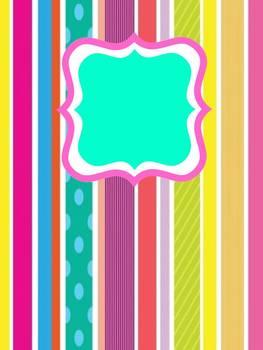 Fun Stripe Binder Cover (Editable)