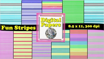 Fun Stripes Digital Paper!  8.5 x 11 , 300 dpi PNG