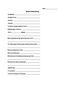 Fun Student Interest Survey