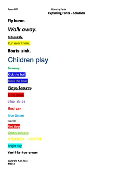 Fun With Fonts - A Word 2010 Worksheet