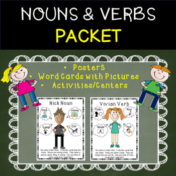 Fun With Nouns and Verbs - Word Cards w/ Pictures and Cent