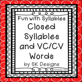 Syllables Closed VCCV Fluency Practice Skills Flash Cards