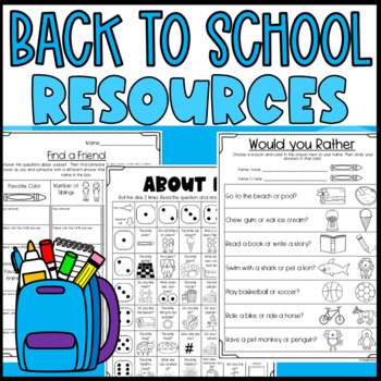 Fun Worksheets and Partner Activities for the first week o