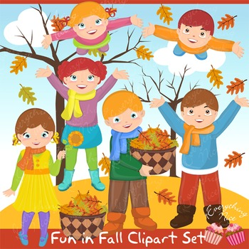 Fun in Fall Autumn Clipart Set