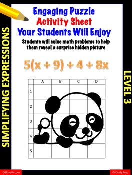 Fun puzzle activity sheet simplifying expressions with dis