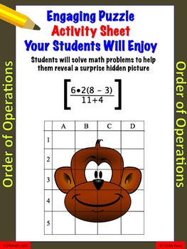 Fun puzzle activity sheet to review order of operations