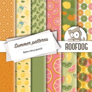 Fun retro citrus punch digital papers summer fruit patterns